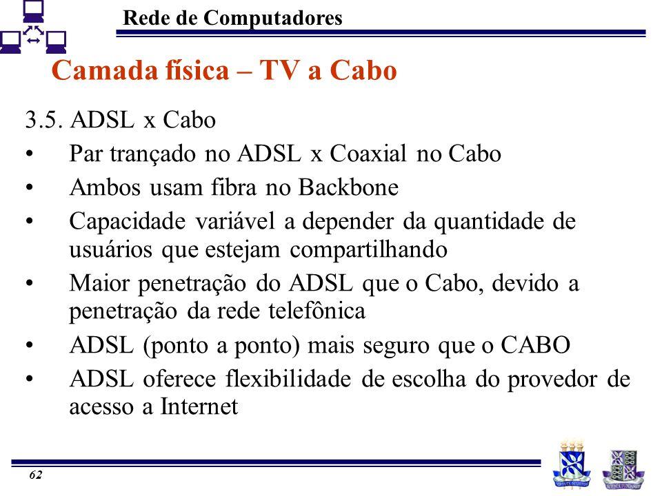 Rede de Computadores 62 Camada física – TV a Cabo 3.5. ADSL x Cabo Par trançado no ADSL x Coaxial no Cabo Ambos usam fibra no Backbone Capacidade vari