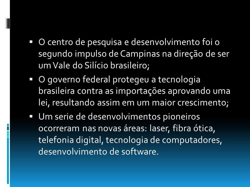O centro de pesquisa e desenvolvimento foi o segundo impulso de Campinas na direção de ser um Vale do Silício brasileiro; O governo federal protegeu a