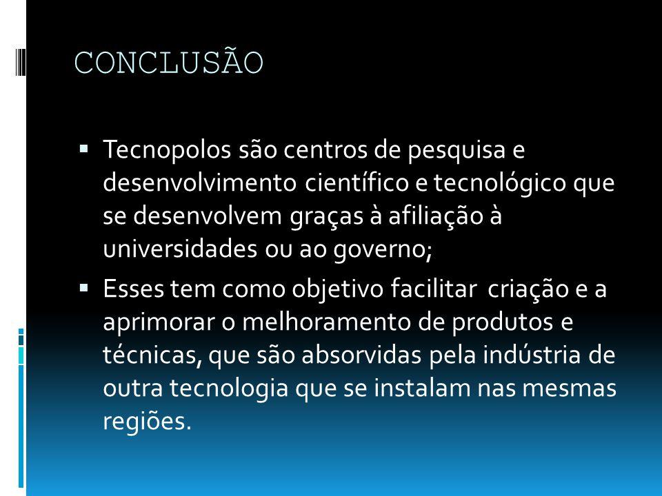 CONCLUSÃO Tecnopolos são centros de pesquisa e desenvolvimento científico e tecnológico que se desenvolvem graças à afiliação à universidades ou ao go