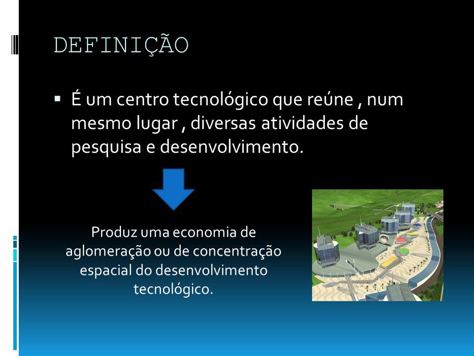 DEFINIÇÃO É um centro tecnológico que reúne, num mesmo lugar, diversas atividades de pesquisa e desenvolvimento. Produz uma economia de aglomeração ou