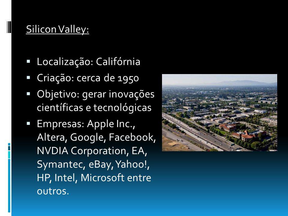 Silicon Valley: Localização: Califórnia Criação: cerca de 1950 Objetivo: gerar inovações científicas e tecnológicas Empresas: Apple Inc., Altera, Goog