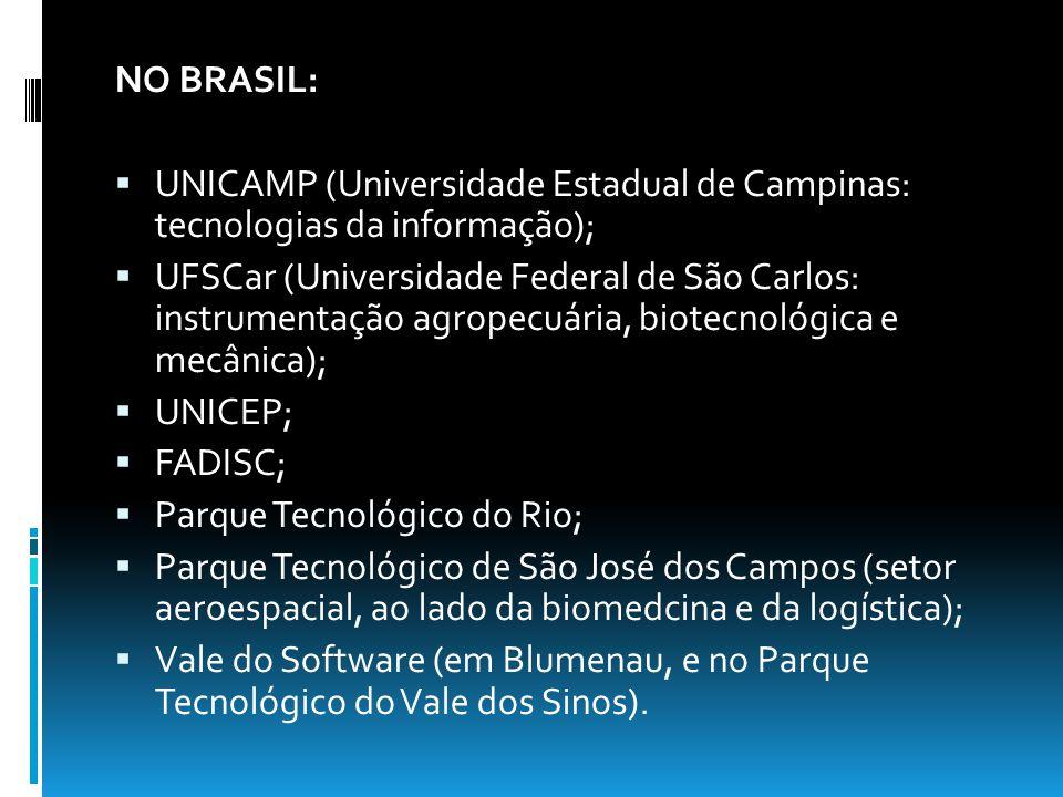 CAMPINAS: Localização: Interior do estado de São Paulo; Centros agregados: UniCamp (Universidade Estadual de Campinas), CPqD (Centro de Pesquisa e Desenvolvimento em Telecomunicações), o Laboratorio Nacional de Luz Síncrotron, o CenPRA (Instituto de Pesquisas Renato Archer), Embrapa, entre outros; Criação: depois de 1970; Objetivo: gerar inovações científicas e tecnológicas, podendo tornar assim o Brasil independente à importações de certos tipos de produto.