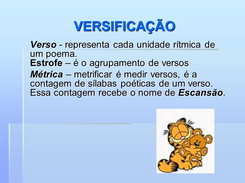 VERSIFICAÇÃO Verso - representa cada unidade rítmica de um poema.