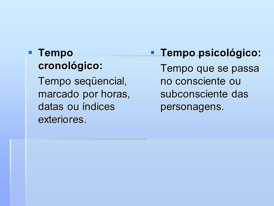 Tempo cronológico: Tempo cronológico: Tempo seqüencial, marcado por horas, datas ou índices exteriores.