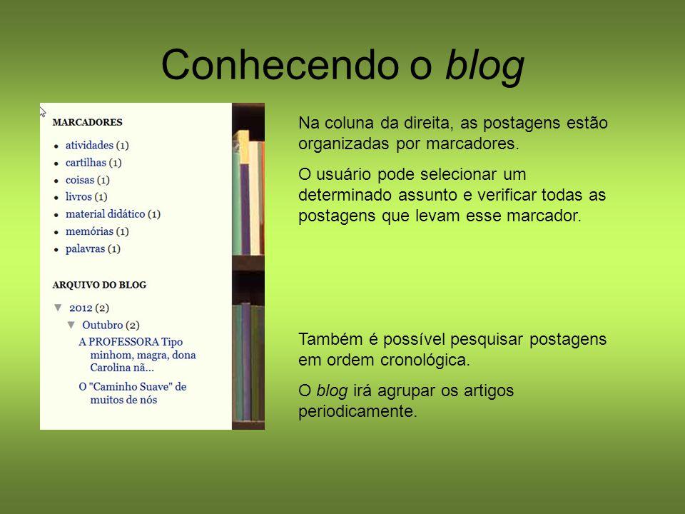 Conhecendo o blog Na coluna da direita, as postagens estão organizadas por marcadores. O usuário pode selecionar um determinado assunto e verificar to