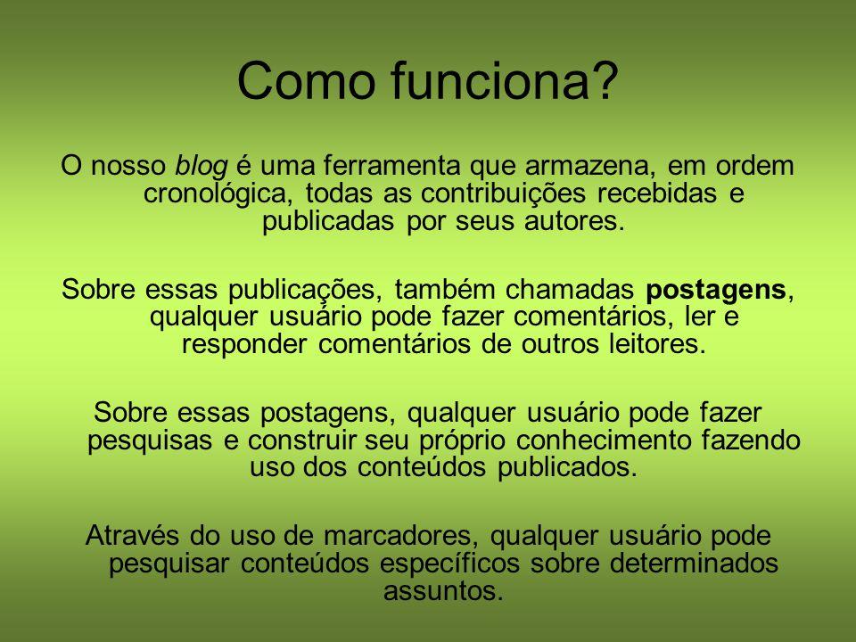 Conhecendo o blog Logo abaixo do título, existem abas com informações conceituais sobre o blog.