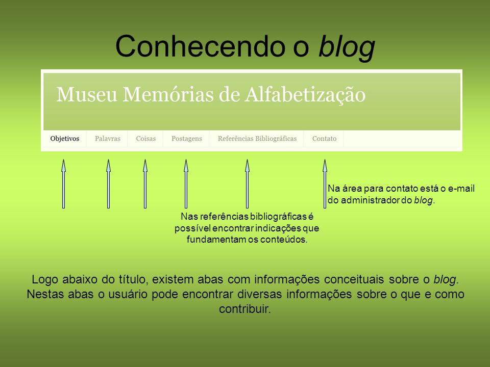 Conhecendo o blog Logo abaixo do título, existem abas com informações conceituais sobre o blog. Nestas abas o usuário pode encontrar diversas informaç