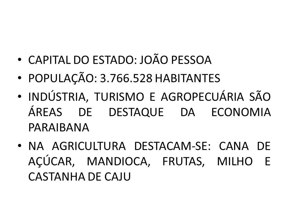 CAPITAL DO ESTADO: JOÃO PESSOA POPULAÇÃO: 3.766.528 HABITANTES INDÚSTRIA, TURISMO E AGROPECUÁRIA SÃO ÁREAS DE DESTAQUE DA ECONOMIA PARAIBANA NA AGRICU