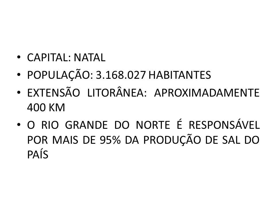 CAPITAL: NATAL POPULAÇÃO: 3.168.027 HABITANTES EXTENSÃO LITORÂNEA: APROXIMADAMENTE 400 KM O RIO GRANDE DO NORTE É RESPONSÁVEL POR MAIS DE 95% DA PRODU