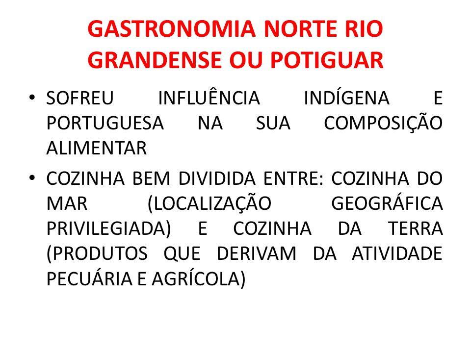 GASTRONOMIA NORTE RIO GRANDENSE OU POTIGUAR SOFREU INFLUÊNCIA INDÍGENA E PORTUGUESA NA SUA COMPOSIÇÃO ALIMENTAR COZINHA BEM DIVIDIDA ENTRE: COZINHA DO