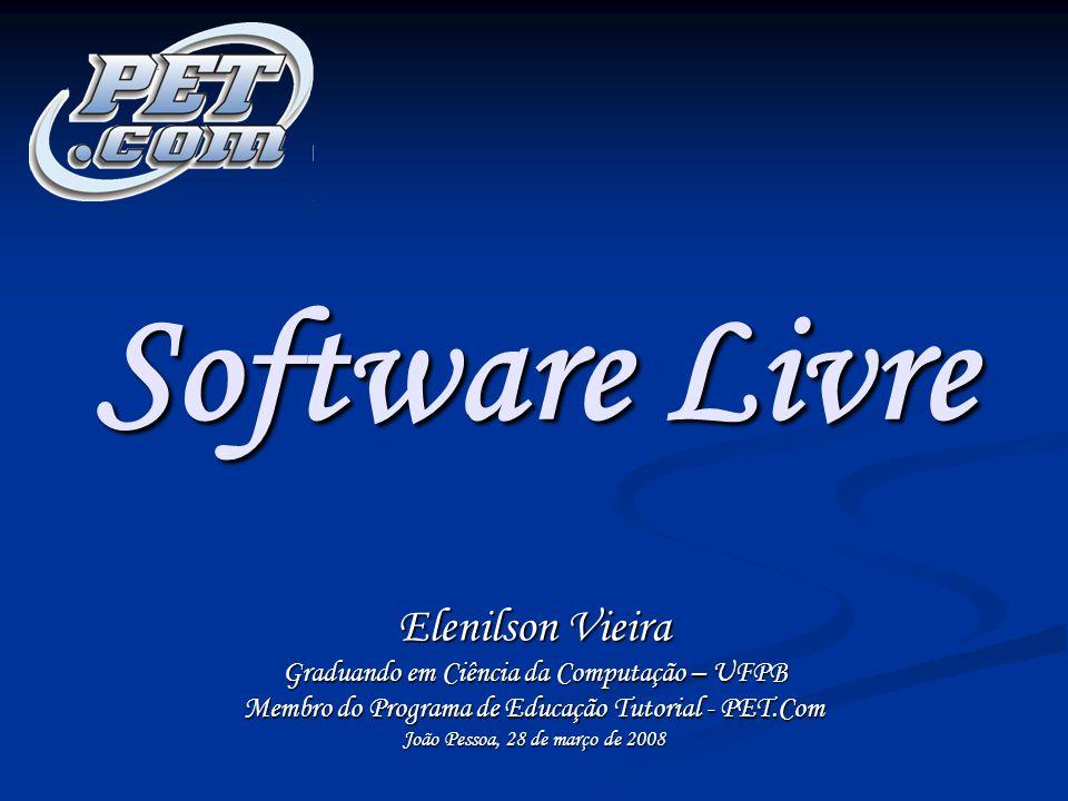 2 PET.Com - Elenilson Vieira Software Livre - Copyleft 2008 Roteiro da Apresentação Definição de Software Livre Definição de Software Livre Soft Livre x Gratuito Soft Livre x Gratuito Por que usar.