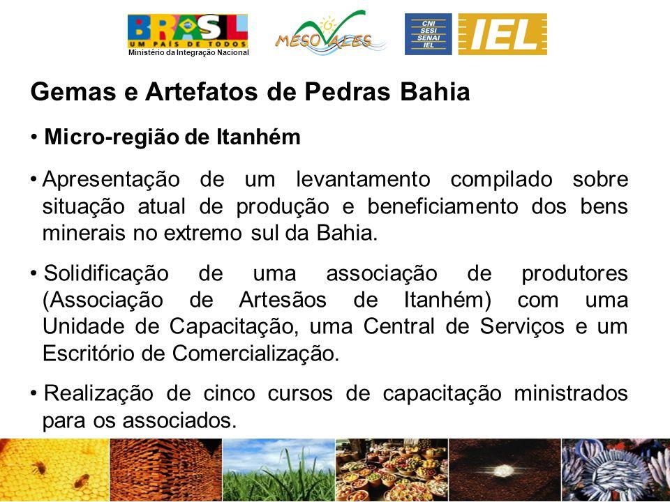 Ministério da Integração Nacional Gemas e Artefatos de PedrasBahia Micro-região de Itanhém Apresentação de um levantamento compilado sobre situação atual de produção e beneficiamento dos bens minerais no extremo sul da Bahia.