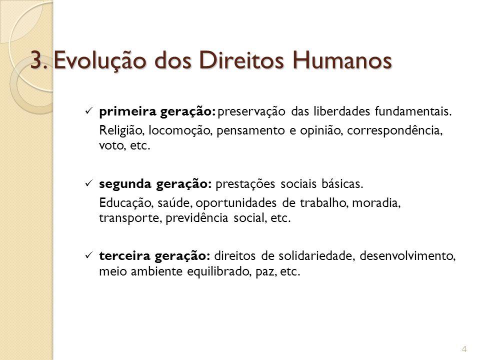 3.Evolução dos Direitos Humanos primeira geração: preservação das liberdades fundamentais.