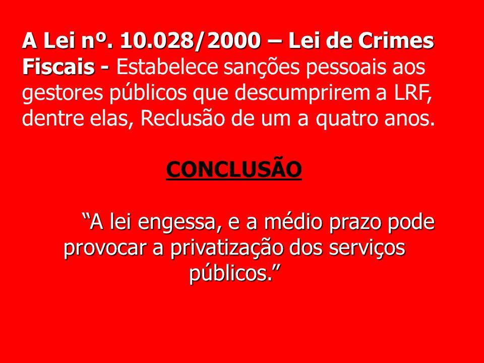 A Lei nº. 10.028/2000 – Lei de Crimes Fiscais - A Lei nº. 10.028/2000 – Lei de Crimes Fiscais - Estabelece sanções pessoais aos gestores públicos que
