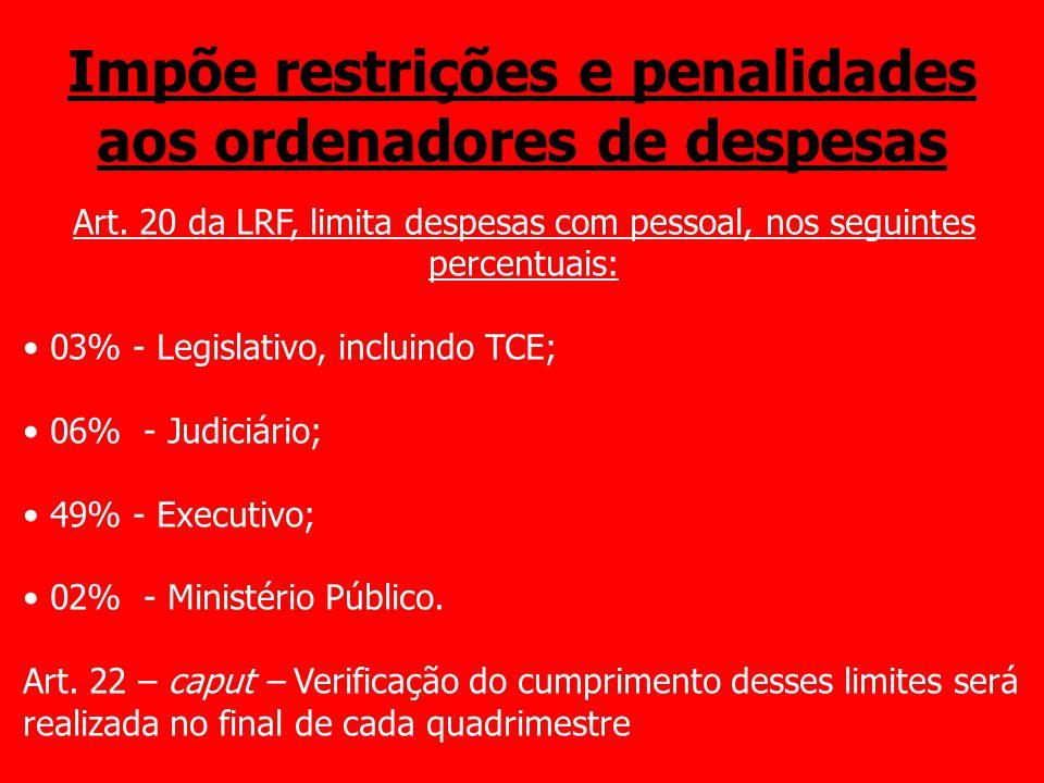 Impõe restrições e penalidades aos ordenadores de despesas Art. 20 da LRF, limita despesas com pessoal, nos seguintes percentuais: 03% - Legislativo,
