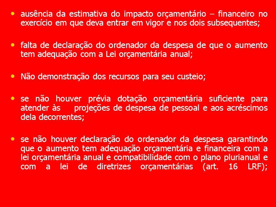 ausência da estimativa do impacto orçamentário – financeiro no exercício em que deva entrar em vigor e nos dois subsequentes; falta de declaração do o