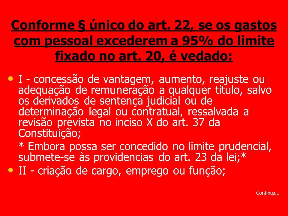 Conforme § único do art. 22, se os gastos com pessoal excederem a 95% do limite fixado no art. 20, é vedado: I - concessão de vantagem, aumento, reaju