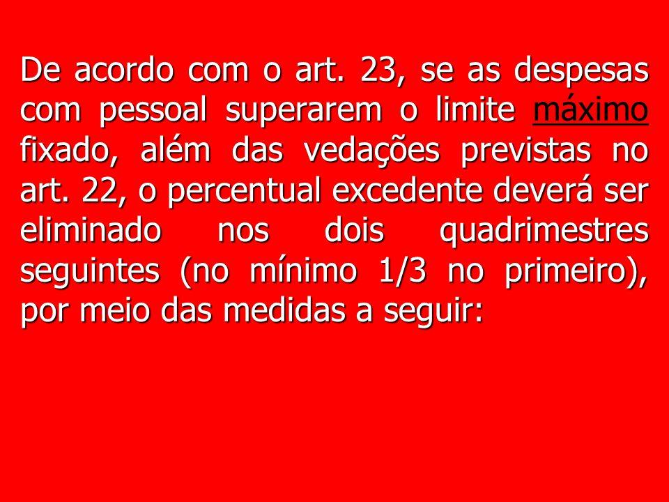 De acordo com o art. 23, se as despesas com pessoal superarem o limite fixado, além das vedações previstas no art. 22, o percentual excedente deverá s