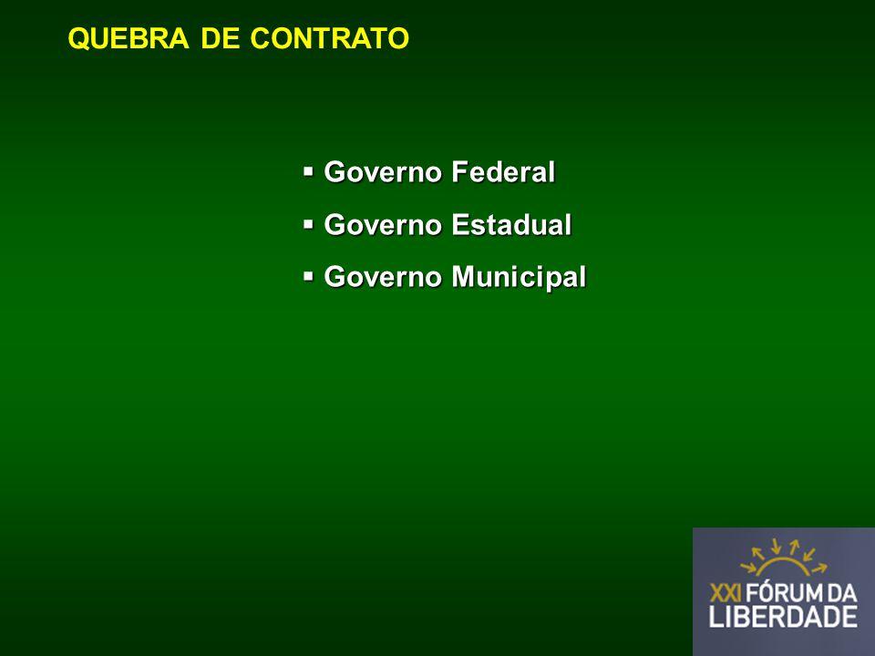 QUEBRA DE CONTRATO Governo Federal Governo Federal Governo Estadual Governo Estadual Governo Municipal Governo Municipal