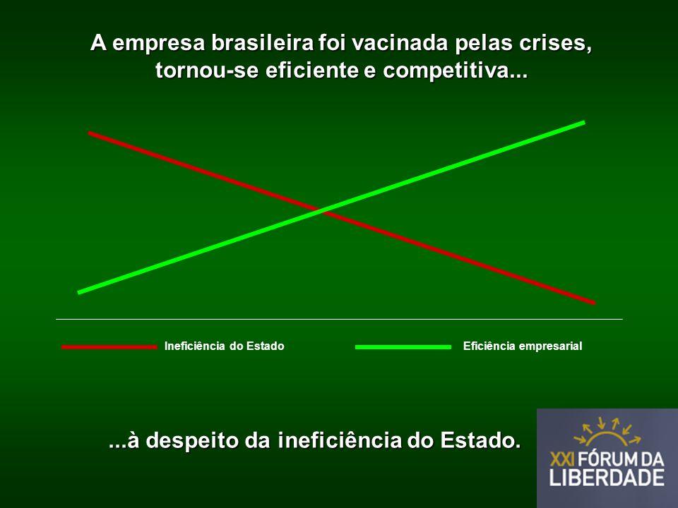 A empresa brasileira foi vacinada pelas crises, tornou-se eficiente e competitiva......à despeito da ineficiência do Estado.