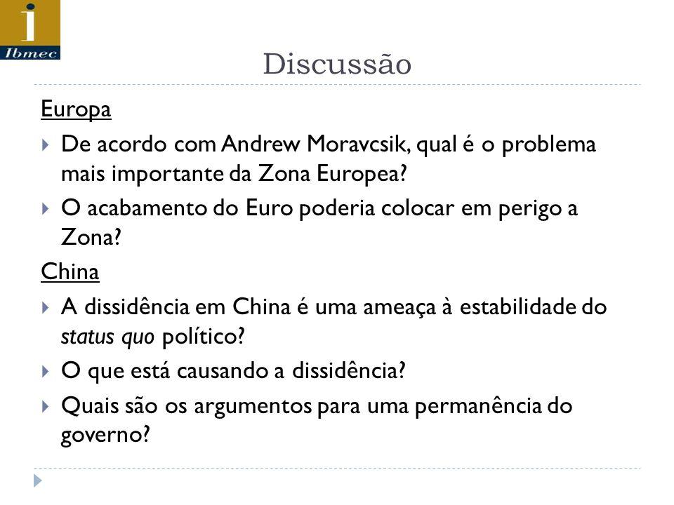 Discussão Europa De acordo com Andrew Moravcsik, qual é o problema mais importante da Zona Europea? O acabamento do Euro poderia colocar em perigo a Z