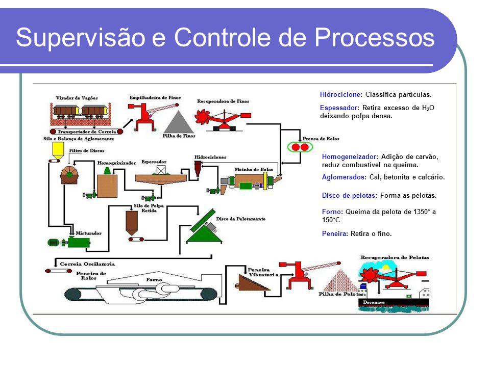 Supervisão e Controle de Processos Espessador: Retira excesso de H 2 O deixando polpa densa. Hidrociclone: Classifica partículas. Homogeneizador: Adiç