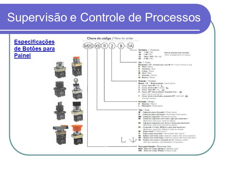 Supervisão e Controle de Processos Especificações de Botões para Painel