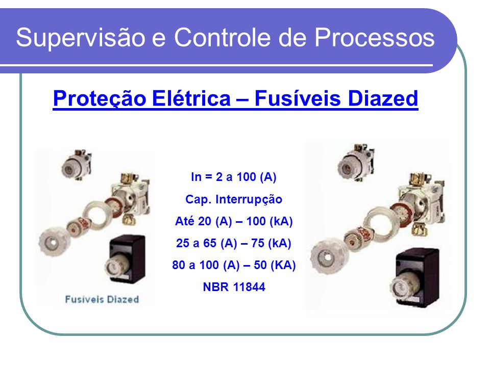 Proteção Elétrica – Fusíveis Diazed In = 2 a 100 (A) Cap. Interrupção Até 20 (A) – 100 (kA) 25 a 65 (A) – 75 (kA) 80 a 100 (A) – 50 (KA) NBR 11844