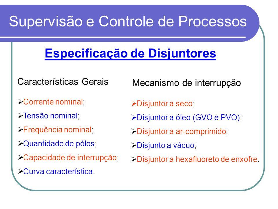 Supervisão e Controle de Processos Disjuntor a seco; Disjuntor a óleo (GVO e PVO); Disjuntor a ar-comprimido; Disjunto a vácuo; Disjuntor a hexafluore