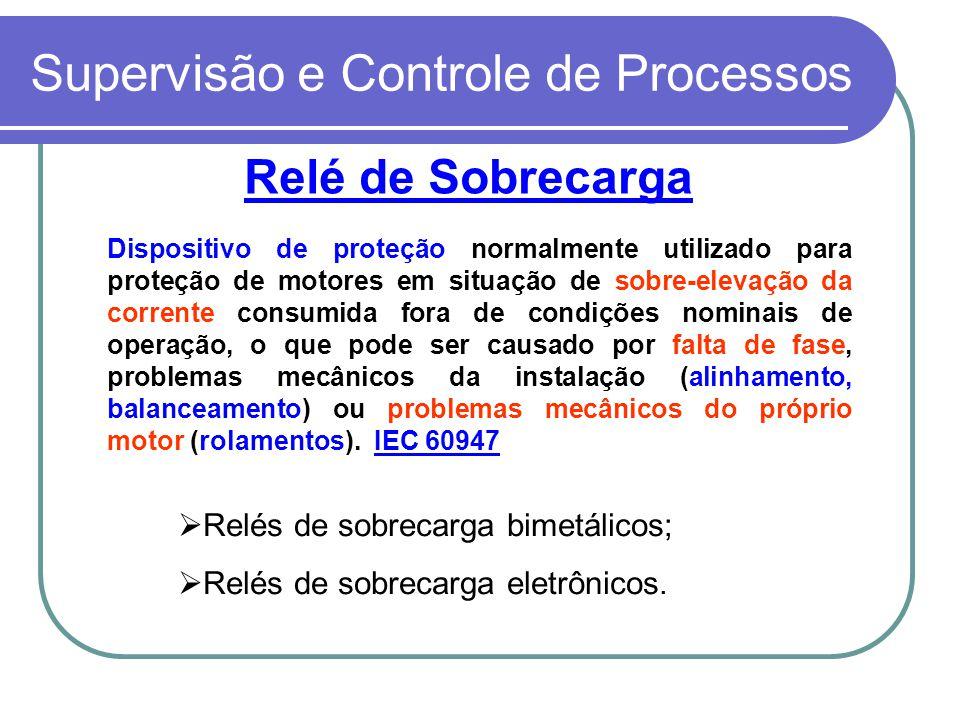 Supervisão e Controle de Processos Relé de Sobrecarga Dispositivo de proteção normalmente utilizado para proteção de motores em situação de sobre-elev
