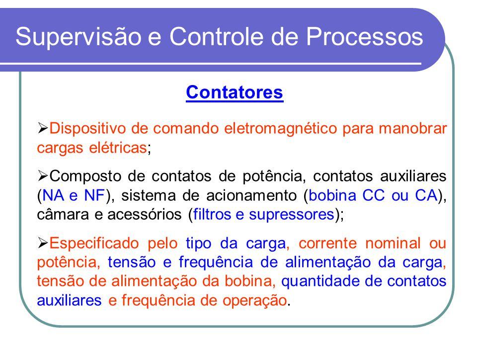 Supervisão e Controle de Processos Contatores Dispositivo de comando eletromagnético para manobrar cargas elétricas; Composto de contatos de potência,