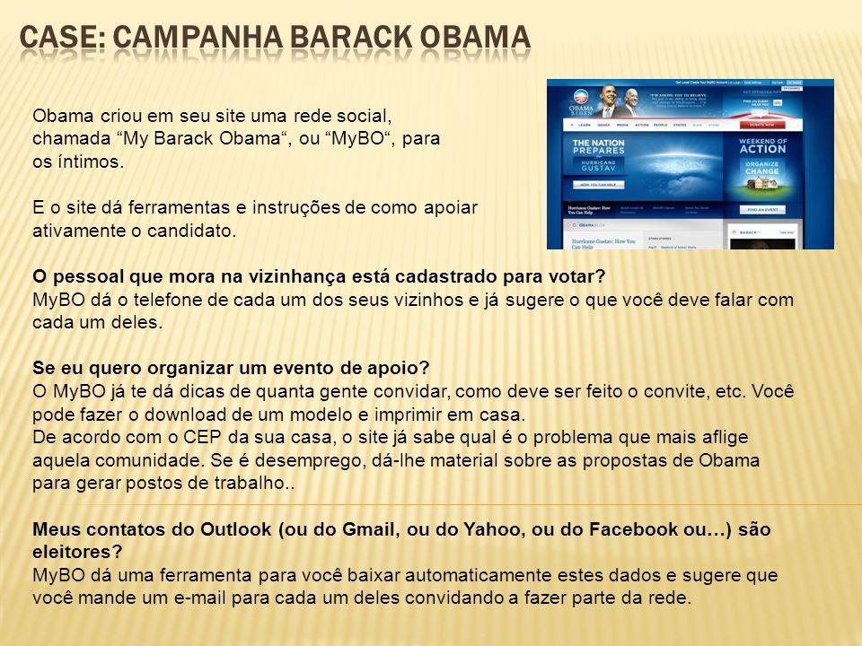 Obama criou em seu site uma rede social, chamada My Barack Obama, ou MyBO, para os íntimos.
