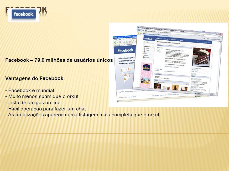 Facebook – 79,9 milhões de usuários únicos Vantagens do Facebook - Facebook é mundial - Muito menos spam que o orkut - Lista de amigos on line - Fácil operação para fazer um chat - As atualizações aparece numa listagem mais completa que o orkut