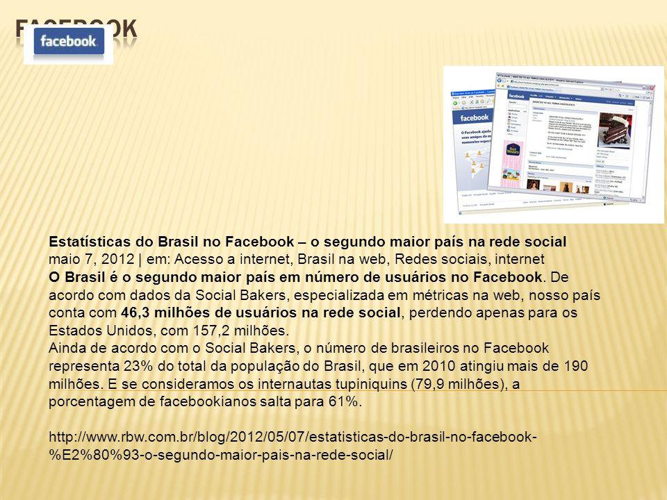 Estatísticas do Brasil no Facebook – o segundo maior país na rede social maio 7, 2012 | em: Acesso a internet, Brasil na web, Redes sociais, internet O Brasil é o segundo maior país em número de usuários no Facebook.