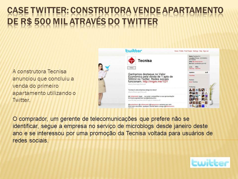 A construtora Tecnisa anunciou que concluiu a venda do primeiro apartamento utilizando o Twitter.