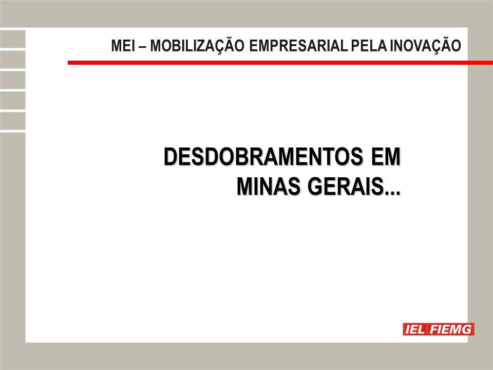 Slide 16 MEI – MOBILIZAÇÃO EMPRESARIAL PELA INOVAÇÃO DESDOBRAMENTOS EM MINAS GERAIS...