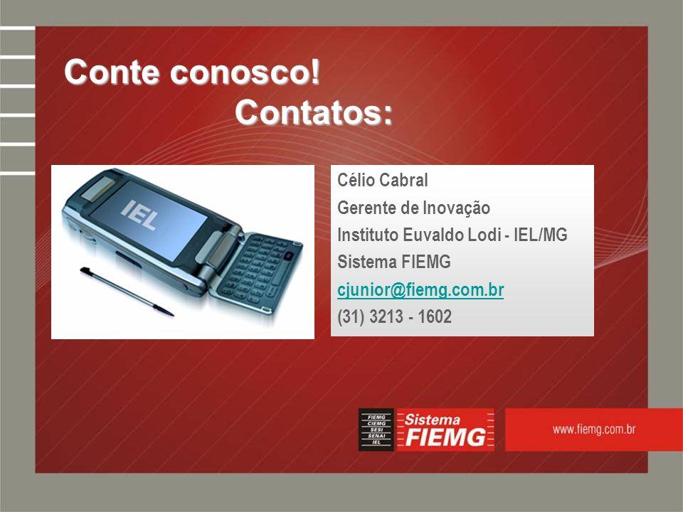 Slide 18 Célio Cabral Gerente de Inovação Instituto Euvaldo Lodi - IEL/MG Sistema FIEMG cjunior@fiemg.com.br (31) 3213 - 1602 Conte conosco.