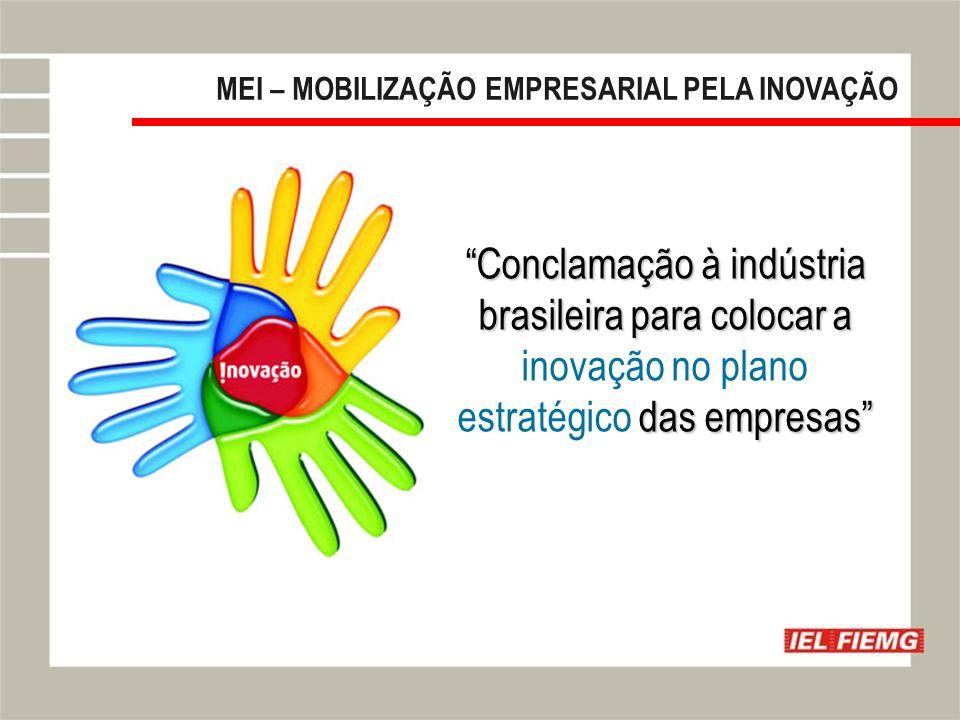 Slide 4 MEI – MOBILIZAÇÃO EMPRESARIAL PELA INOVAÇÃO Conclamação à indústria brasileira para colocar a das empresas Conclamação à indústria brasileira para colocar a inovação no plano estratégico das empresas