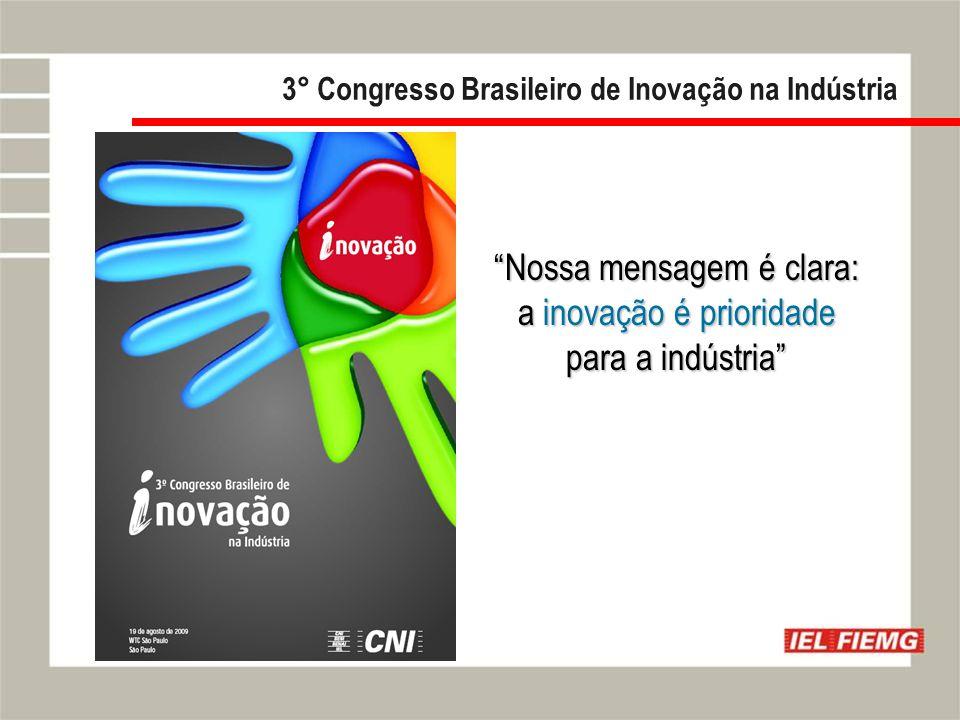Slide 5 3° Congresso Brasileiro de Inovação na Indústria Nossa mensagem é clara: a inovação é prioridade para a indústria