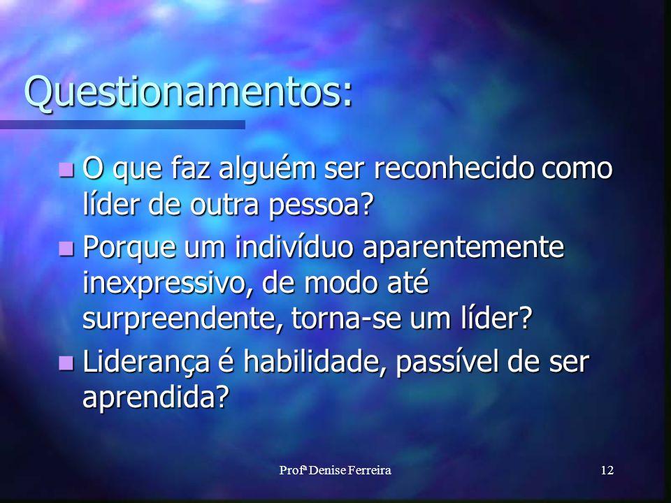 Profª Denise Ferreira12 Questionamentos: O que faz alguém ser reconhecido como líder de outra pessoa.