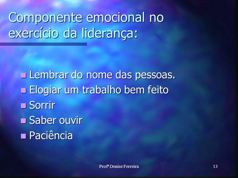 Profª Denise Ferreira13 Componente emocional no exercício da liderança: Lembrar do nome das pessoas. Lembrar do nome das pessoas. Elogiar um trabalho