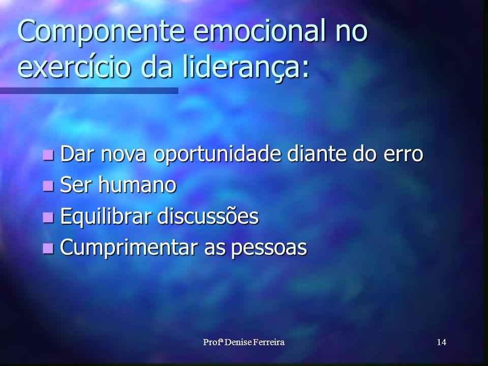 Profª Denise Ferreira14 Componente emocional no exercício da liderança: Dar nova oportunidade diante do erro Dar nova oportunidade diante do erro Ser humano Ser humano Equilibrar discussões Equilibrar discussões Cumprimentar as pessoas Cumprimentar as pessoas
