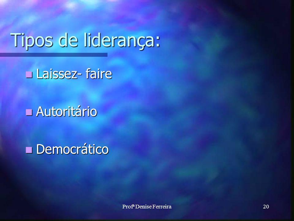 Profª Denise Ferreira20 Tipos de liderança: Laissez- faire Laissez- faire Autoritário Autoritário Democrático Democrático
