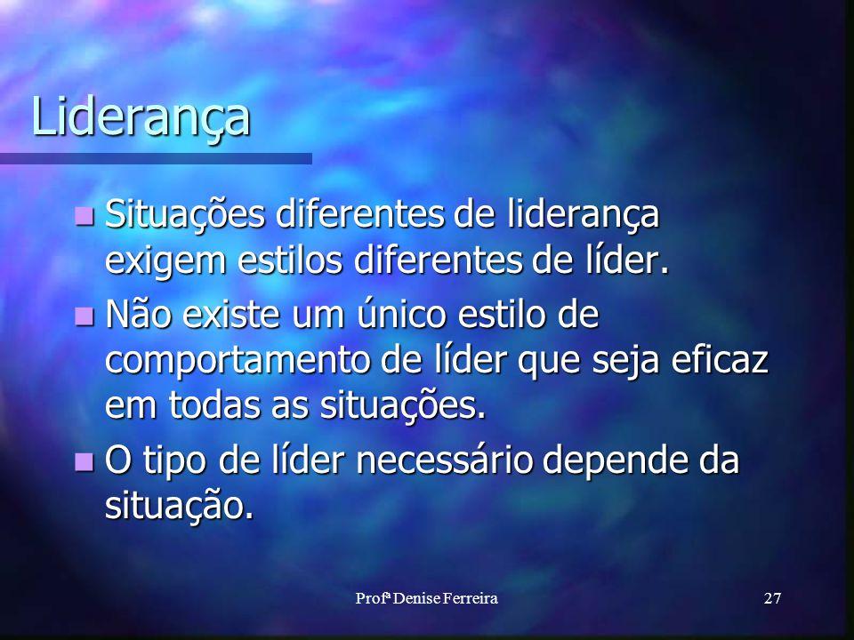 Profª Denise Ferreira27 Liderança Situações diferentes de liderança exigem estilos diferentes de líder. Situações diferentes de liderança exigem estil