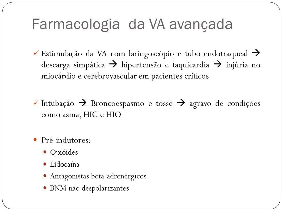 Farmacologia da VA avançada Estimulação da VA com laringoscópio e tubo endotraqueal descarga simpática hipertensão e taquicardia injúria no miocárdio e cerebrovascular em pacientes críticos Intubação Broncoespasmo e tosse agravo de condições como asma, HIC e HIO Pré-indutores: Opióides Lidocaína Antagonistas beta-adrenérgicos BNM não despolarizantes