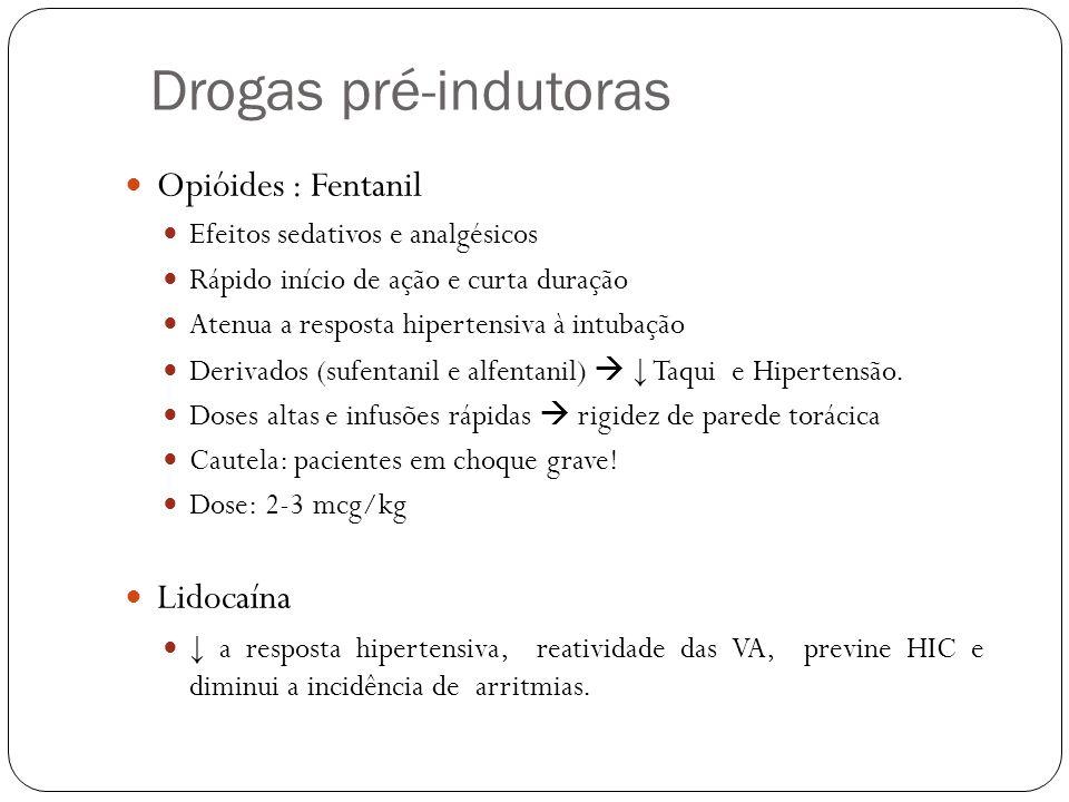 Drogas pré-indutoras Opióides : Fentanil Efeitos sedativos e analgésicos Rápido início de ação e curta duração Atenua a resposta hipertensiva à intubação Derivados (sufentanil e alfentanil) Taqui e Hipertensão.
