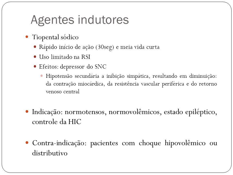 Agentes indutores Tiopental sódico Rápido início de ação (30seg) e meia vida curta Uso limitado na RSI Efeitos: depressor do SNC Hipotensão secundária
