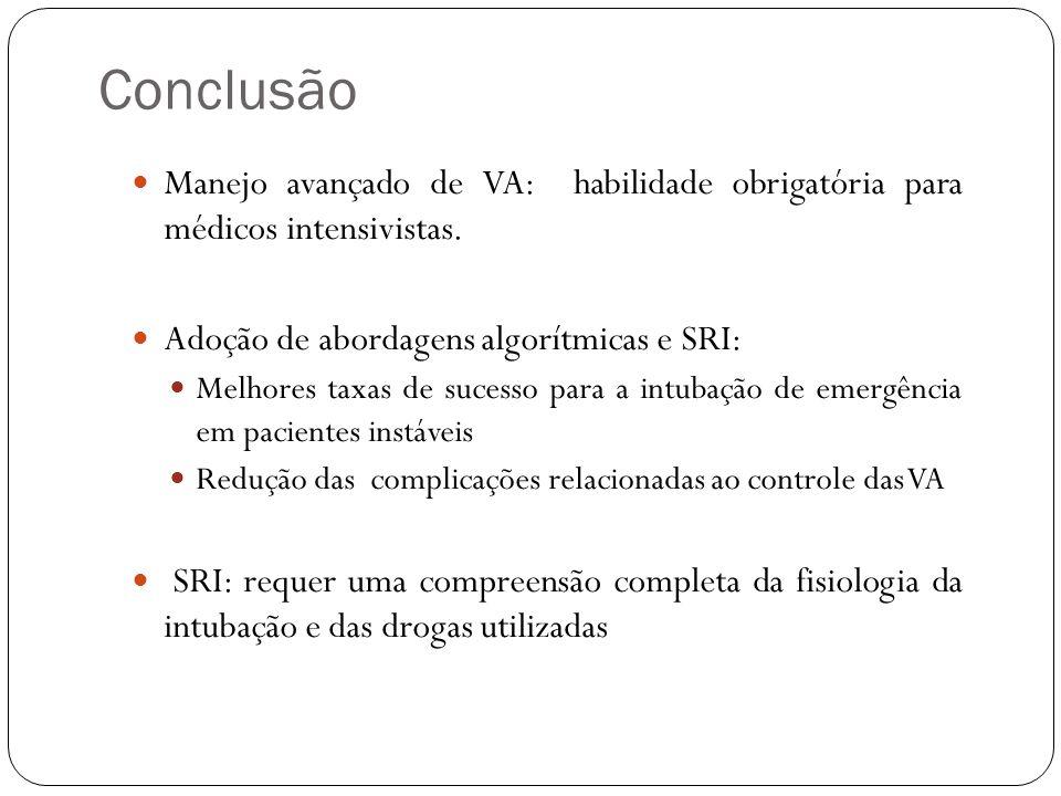 Conclusão Manejo avançado de VA: habilidade obrigatória para médicos intensivistas. Adoção de abordagens algorítmicas e SRI: Melhores taxas de sucesso