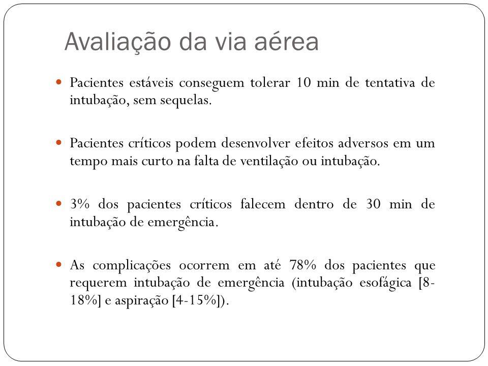 Avaliação da via aérea Pacientes estáveis conseguem tolerar 10 min de tentativa de intubação, sem sequelas. Pacientes críticos podem desenvolver efeit