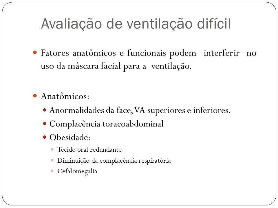 Avaliação de ventilação difícil Fatores anatômicos e funcionais podem interferir no uso da máscara facial para a ventilação. Anatômicos: Anormalidades
